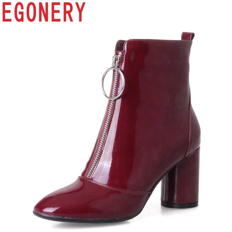 EGONERY hohe qualität Chelsea stiefeletten frau patent leder 7,5 cm high heel booties seltsame stil party wein rot Hochzeit schuhe