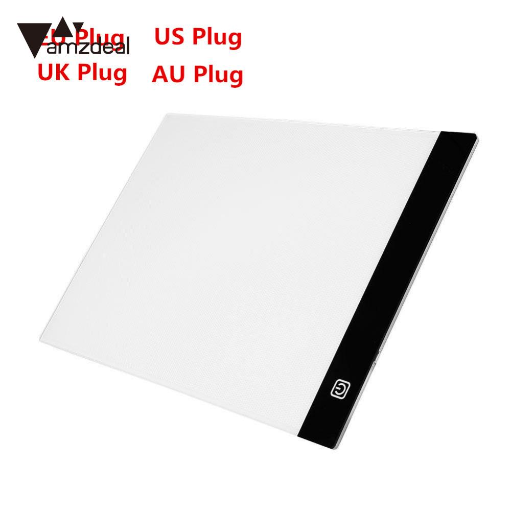 AMZDEAL 2017 Neue Ultradünne A4 FÜHRTE Licht Schablone Touch Bord Kopie Malerei Reißbrett Tisch Pad Dimmbare EU/UK/AU/US Stecker