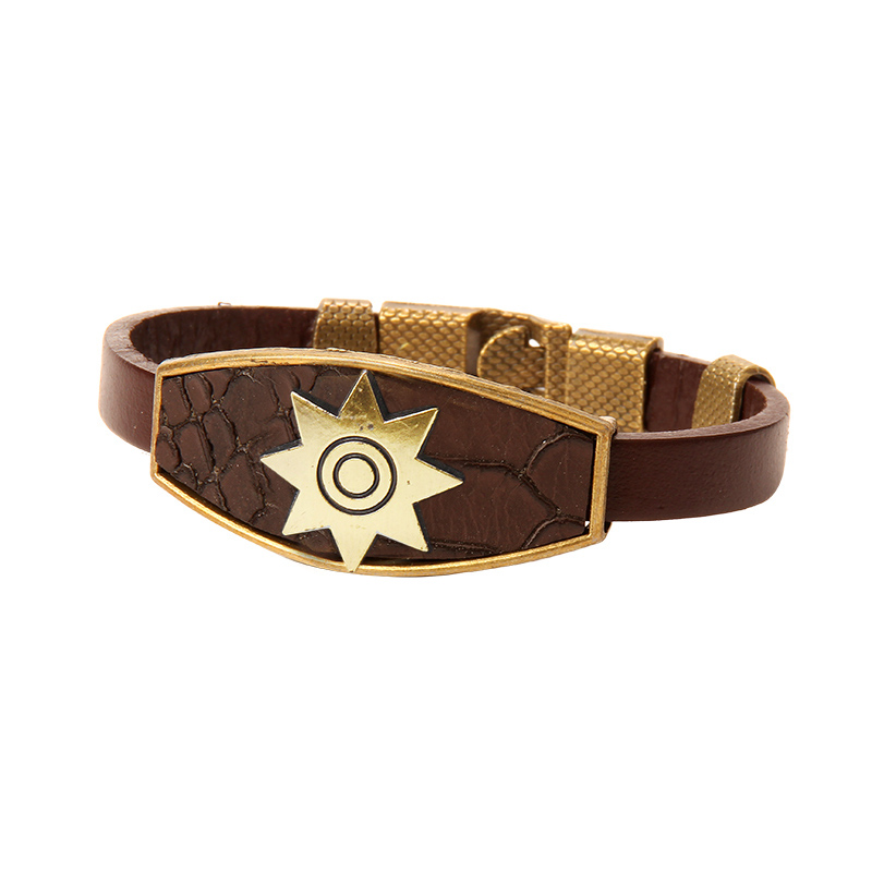 Design Men Bracelets Geometric Bronze Cross Wing Lion Owl Shackles Black Leather Bracelet Men Wristband Fashion Jewelry Unisex