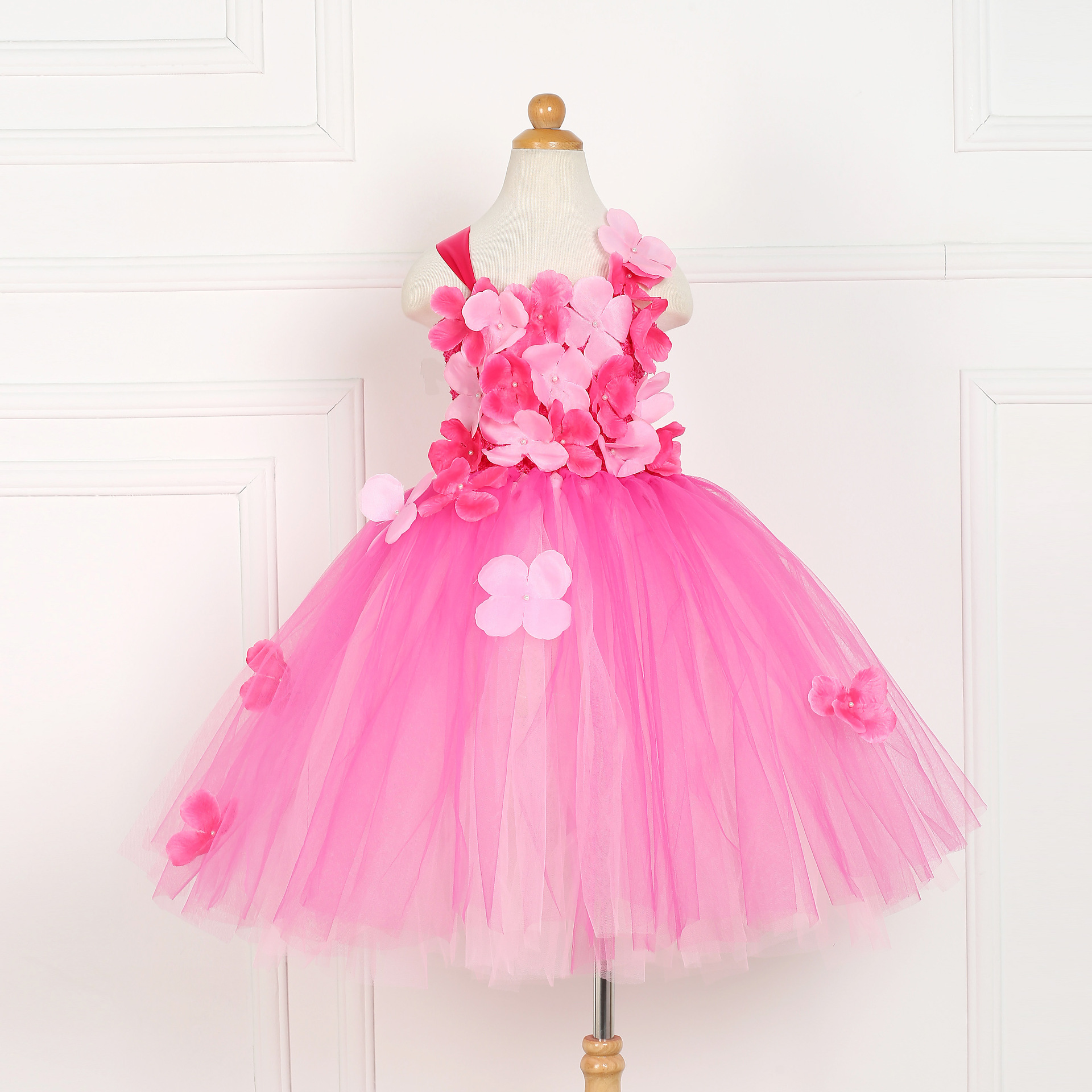 Children Girls Pink Small Flower Tutu Dress Princess Kids Birthday Party Dress Girls Christmas Halloween Cosplay Costume 1-12y