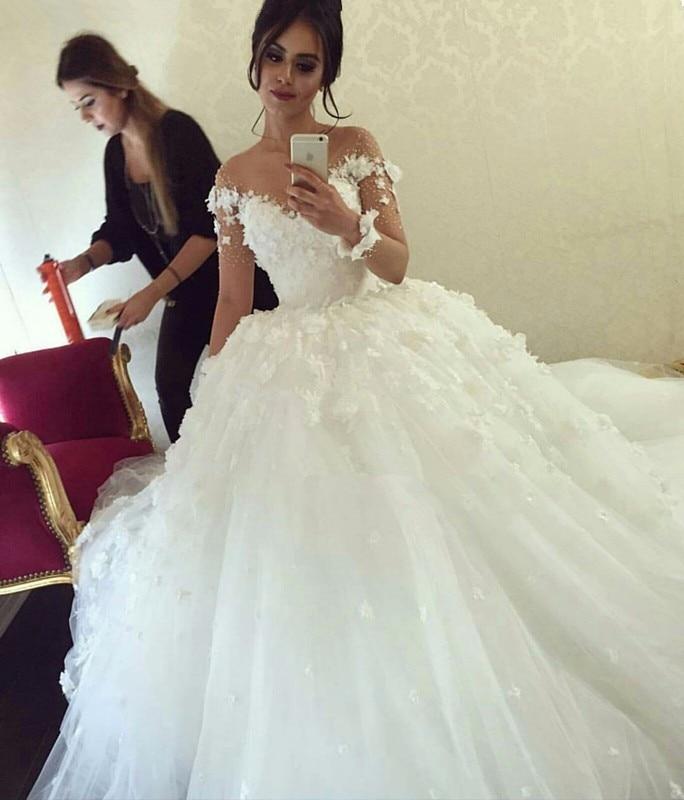 New Wedding Dress 2020 Sweetehart Neck Long Sleeve Ball Gown Court Train Beading Tulle Bridal Gowns Robe De Mariage