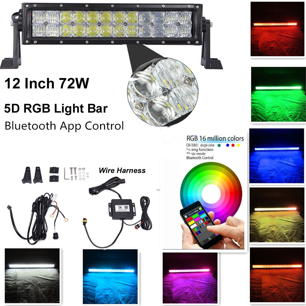 Honzdda 13.5 inch 5D 72W LED Light Bar Bluetooth App Control RGB Many Modes Color Changing forTractor Boat Off-Road 4WD 12v обои акриловые бумажные harrison prints delancey dc50903