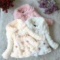 Детские дети девушки искусственного меха руно ну вечеринку пальто зима теплая куртка 1 - 5 т рождество Snowsuit