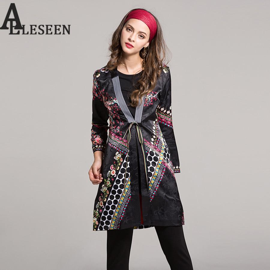 Ethnic Jacquard Trench Vintage Full Sleeve Adjustable 2018 Autumn Elegant Designer Slim Black Floral Print Long Windbreaker