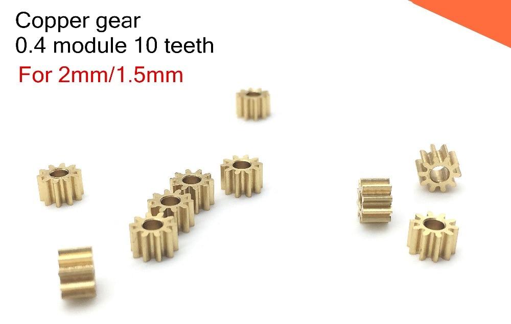 10PCS 0.4M 10T Copper Gear,0.4 Module 10 Teeth For 2mm/1.5mm