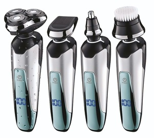 Image 1 - プロ 3 刃シェーバーセット充電式電気シェーバー男性のひげシェービングマシン電気かみそり洗える + 3 アクセサリー