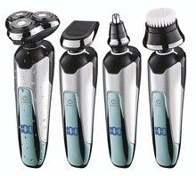 Profissional 3 lâmina conjunto barbeador elétrico recarregável para barba máquina de barbear barbeador elétrico lavável + 3 acessórios