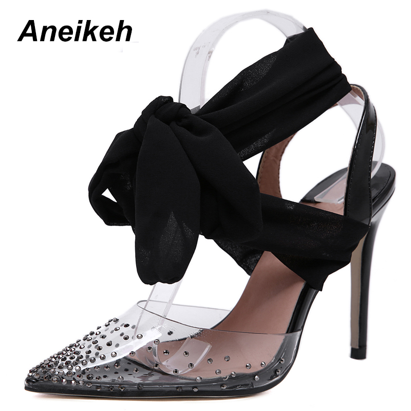 Aneikeh 2019 New PVC Cross-tied Strap crystal Slipper Sandals Sweet Style Butterfly-knot Thin Heels Women Sandals Shoe Size 4-9Aneikeh 2019 New PVC Cross-tied Strap crystal Slipper Sandals Sweet Style Butterfly-knot Thin Heels Women Sandals Shoe Size 4-9