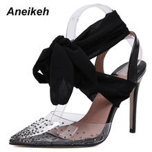 Aneikeh 2019 New PVC Cross-tied Strap crystal Slipper Sandals Sweet Style Butter