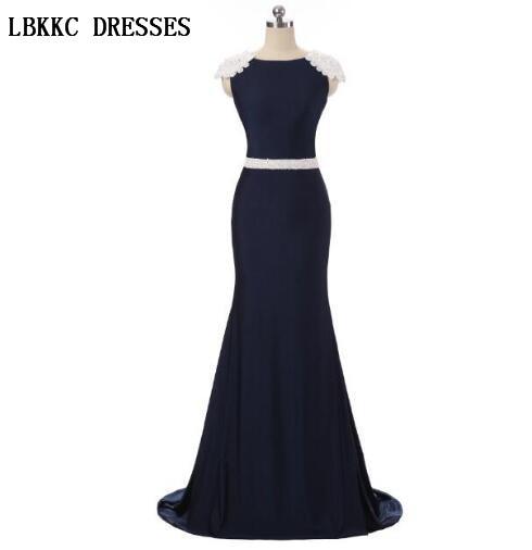 Elegant Cap Sleeves Navy Blue Mermaid Evening Dresses Floor Length Vestidos Elegantes Vestidos Azul Turkish Evening Gowns,ED063