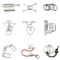 Educational Toys 25 Pcs/Set IQ Brain Teaser Disentanglement Metal Wire Puzzles for Novelty Birthday Toy Educational Toy Gift Set