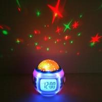 OUYUN Fashion Cool Luminous Snooze Digital Alarm Clock Music Star Sky Digital LED Projection Alarm Clock Kids With Backlight