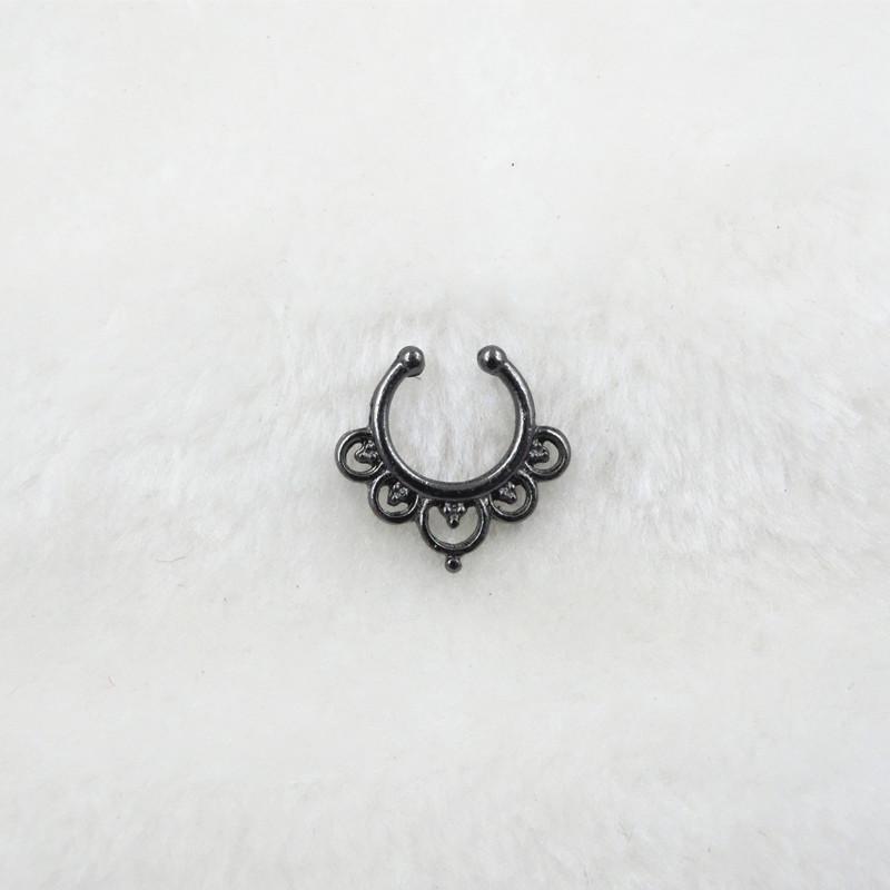 HTB1cjNdPVXXXXXZXVXXq6xXFXXXt Trendy Women Black Alloy Clicker Septum Nose Ring Jewelry - 10 Styles