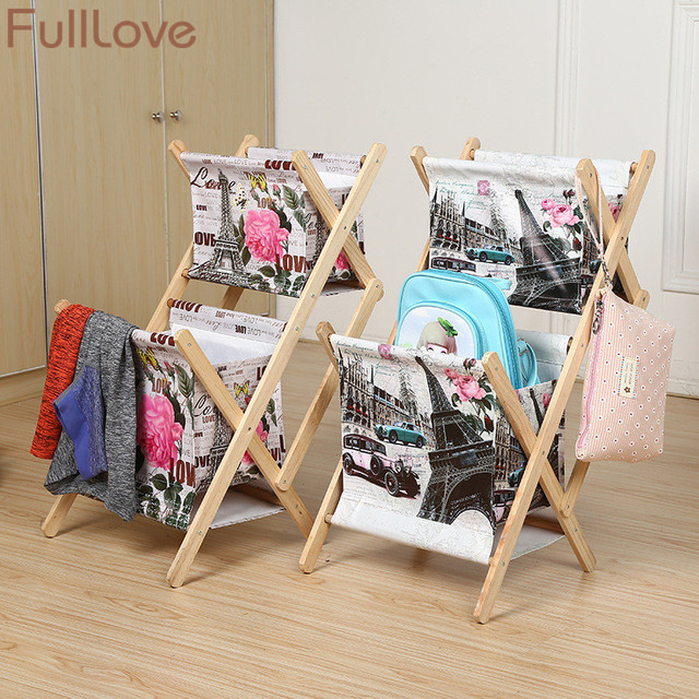 FullLove 2 Layer Wooden Storage Box Newspaper Rack Jewelry Box Tower Print  Dirty Clothes Toys Books