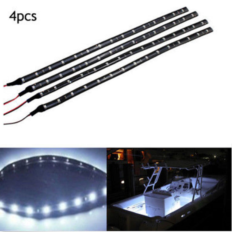 4x White LED 1 Ft Submersible Navigation Light Strip Waterproof Marine Boat 12V Boat Deck Courtesy Bow Pontoon Bulb