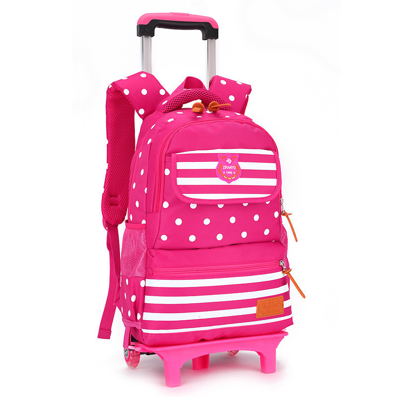 Children Trolley School Bag Backpack Wheeled School Bag ...