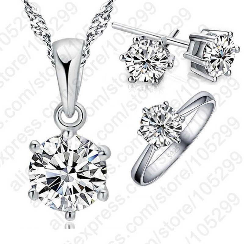 Trendy Heißer Verkauf Frauen Hochzeit Schmuck Sets Anhänger Halskette Ohrringe Sets Volle Größe Ring 925 Serling Silber Beste Schmuck