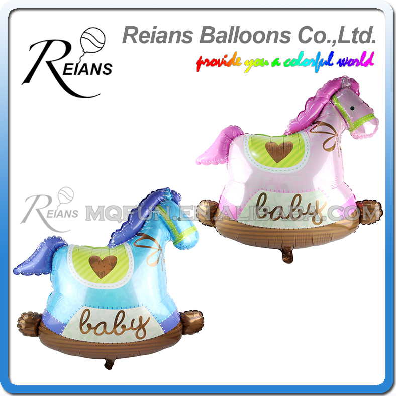 10pcs/lot REIANS 91cm cute kawaii cartoon new born Huge Trojan wooden horse kids decoration aluminum foil balloon party supplies