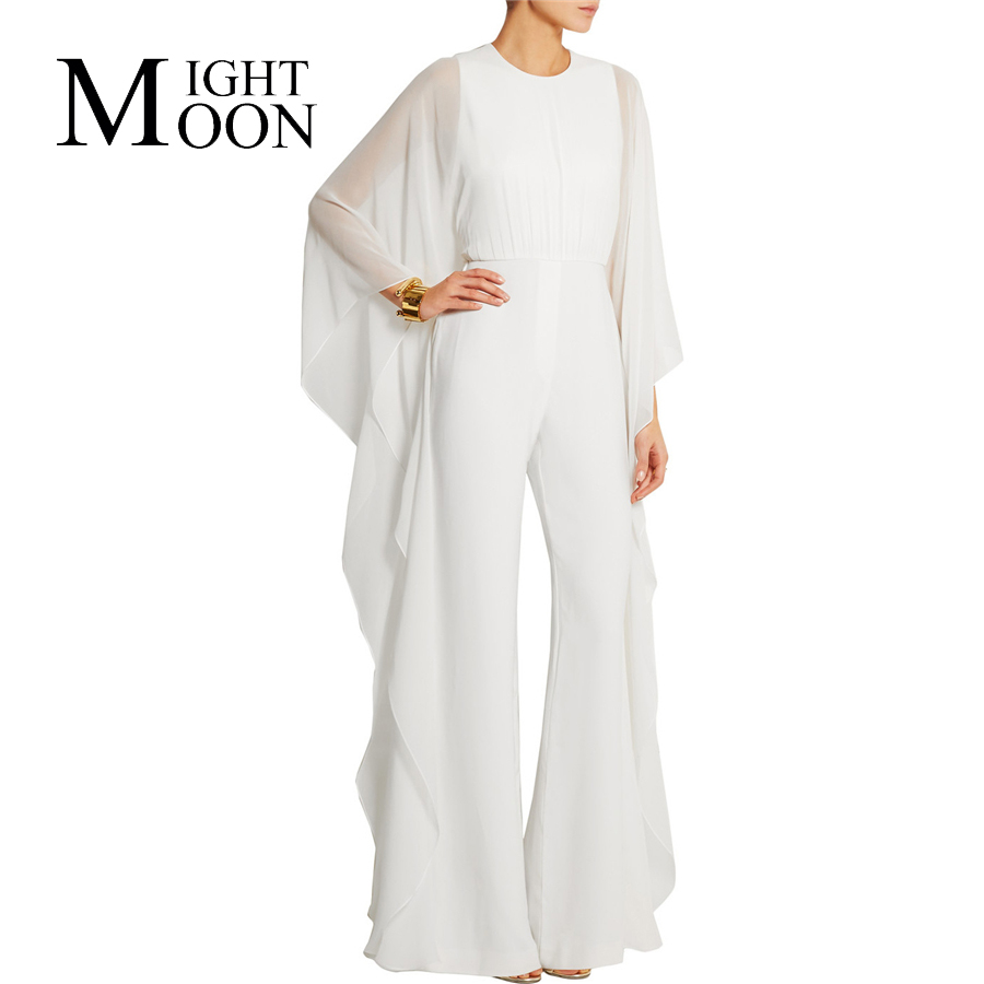 MOONIGHT Women 2017 New Arrive Fashion Casual Jumpsuit Full Sleeve Long Jumpsuit White Sexy Jumpsuit