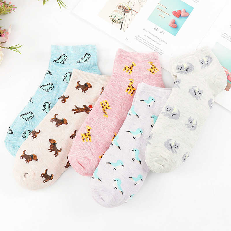 Summer Women   Socks   Cotton Cartoon Dog Cat Little Bird Kawaii Thin Cute Lovely Cool Funny   Socks   Cotton Dinosaur Casual Cool New