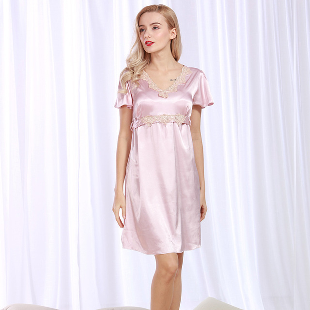 ec265af7e7e Women Sexy Silk Satin Nightgown Short Sleeeve Sleepshrit V-neck Nightdress  Summer Night Shirt Lace Sleeping Dress Home Clothing