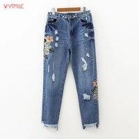 YSMILE Y Women Ripped Hem Skinny Jeans Female Girl Embroidery Floral Western Style Apparel Summer Denim