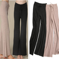 pure goat cashmere women's lounge pants homewear full length straight knitted trousers EU/one&over size