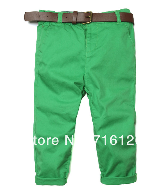 New arrival Baby Green trousers Boys Cotton Belt Casual pants Brand clothing Wholesale