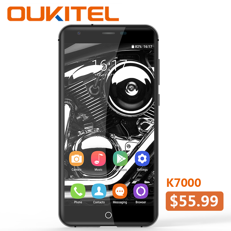 <font><b>Oukitel</b></font> <font><b>K7000</b></font> MTK6737 Quad Core Android 6.0 Mobile Phone Cellphone 2G RAM 16G ROM3G Unlock Smartphone Original 5Inch Smartphone image