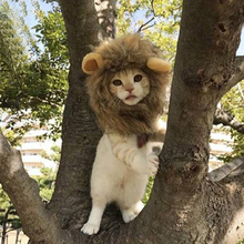 Funny Cute Pet Costume Cosplay Lion Mane Wig Cap Hat for Dog Cat Halloween Xmas Clothes Fancy Dress with Ears Autumn Winter