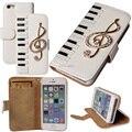 Couro, teclado de piano nota musical flash diamante PU carteira para iPhone 5 / 5S e filme protetor