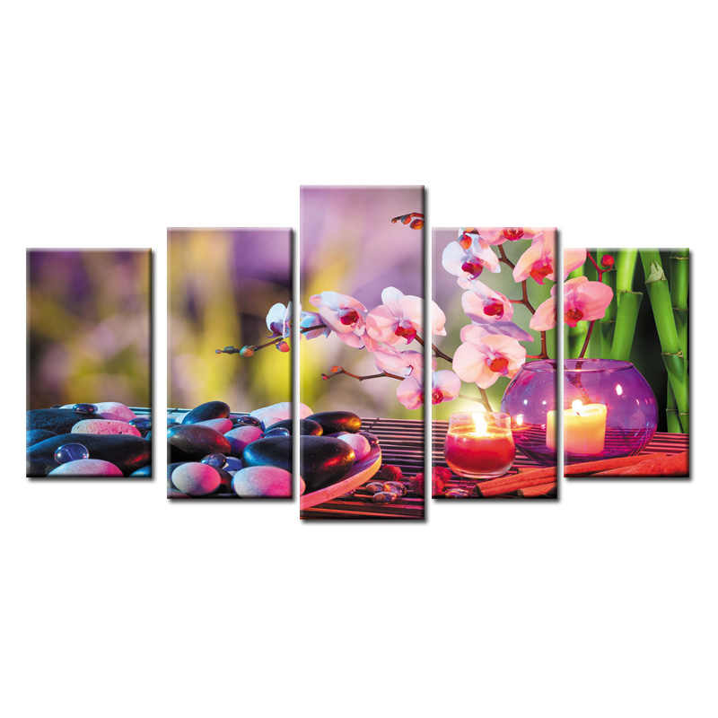 Top Sale 5 Pieces/set Still life spa poster Canvas Painting Sitting Room Decoration Print Canvas Pictures Framed