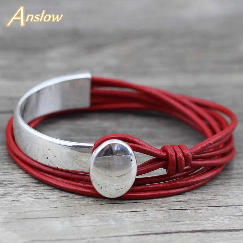 Anslow 2018 Classic Unisex Charm Vintage Style New Unique Silver Plated Unisex Leather Bracelet Couple Birthday Gift LOW0468LB