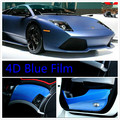 600mm x 1520mm Car Styling 4D Carbon Blue Fiber Vinyl Wrap Sheet Film Bubble Air Free Sticker Emblem Body Kit