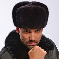 Rosja Mężczyźni Cała Mink Fur Hat Winter Warm Fur Genunie Kapelusz nakrycia głowy Nowy Autentycznych męska Formalna Solidna Fur Hat Czapki Czapka H #18