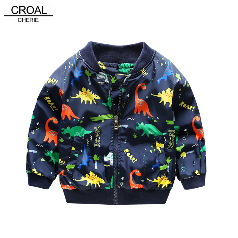 CROAL CHERIE 80-130cm O-Neck Kids Boys Jacket Navy Green 2018 Spring Dinosaur Printing Children Clothes Girls Coat Outerwear