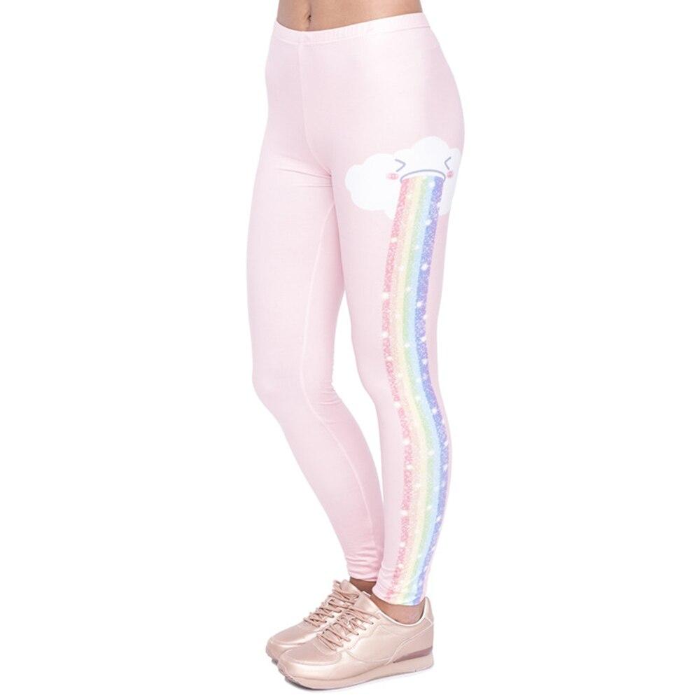 Elegant Design Women   Legging   Rainbow Rain Printing Fashion Kawaii   Leggings   High Waist Woman Pants