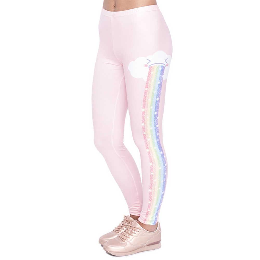 Elegant ผู้หญิง Legging Rainbow Rain การพิมพ์แฟชั่น Kawaii Leggings ผู้หญิงสูงเอวหญิงกางเกง