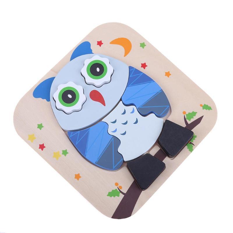 Детские деревянные головоломки игрушка детей раннего образования Игрушечные лошадки сова мультфильм животных Детские творческого обучен...