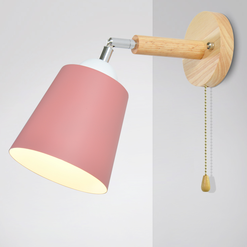 Nordic Wooden Wall Lights Bedside Wall Lamp E27 With Zipper Switch Sconce Modern Wall Light For Bedroom Macaroon 6 Color 85-285V