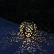 Hexagon LED Solar Lantern Lights Outdoor Pathway Hanging Solar Light Bulb for Patio Courtyard Garden(China)