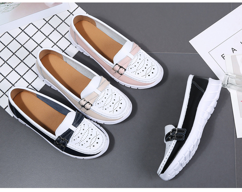 Spring Women Shoes Genuine Leather Handmade Flats Casual Shoes Woman Slip-on Loafers Ballet Flats Ladies Shoes Slipony (27)