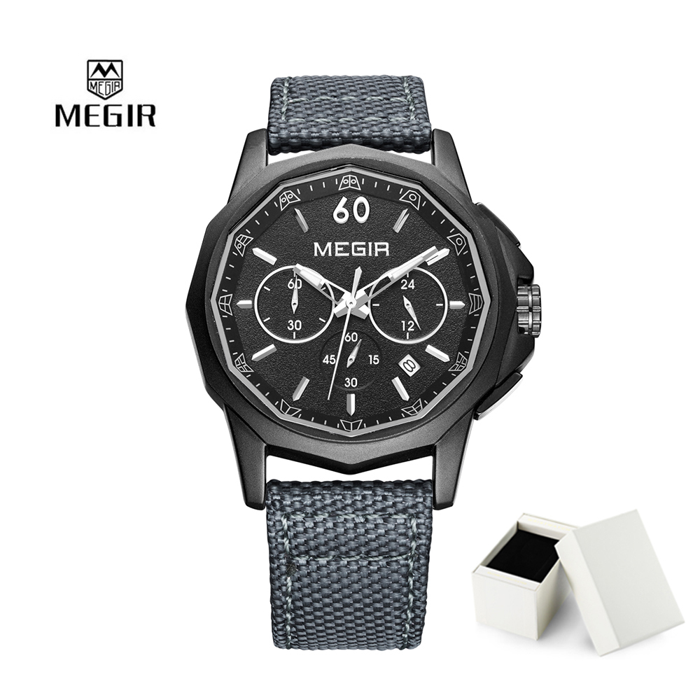 2018 Fashion Megir Men Quartz Watch Luxury Sport Casual Simple Watches Chronograph Calendar Wristwatch Relogio Masculino 2033 8mm hex shank screwdriver drill bit angle driver 90 degree right angle 3 8 inch keyless chuck drill adapter steel body design