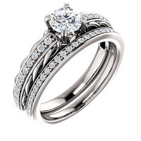 Elegant 1 Carat Diamond Wedding Band Sets Simulated Diamond Engagement Rings Real 9K White Gold For