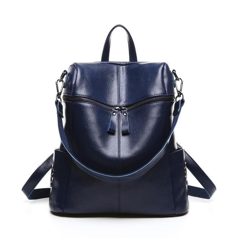 Perfect# New head layer leather ladies backpack Korean women a rivet bag