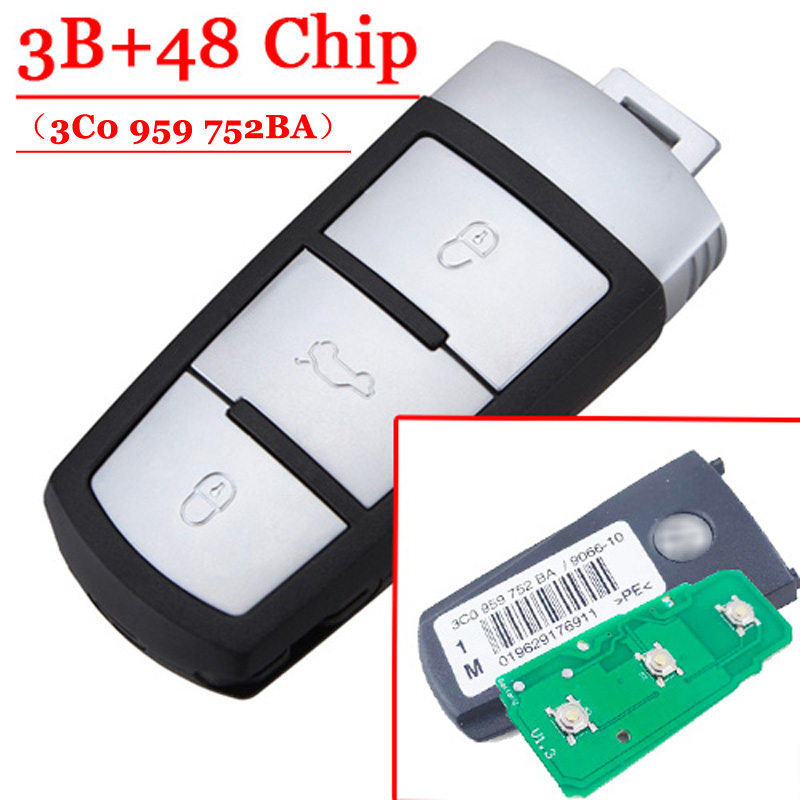 Remote key 433mhz for vw 3 button Fob 3C0959752BA with id 48 chip(P/N: 3C0 959 752 BA) fast shipping 1 piece 1k0 959 753 g 3 button flip remote key with 433mhz 48 chip for vw key