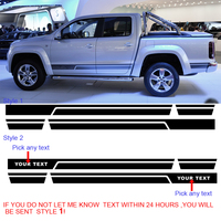 2 PC cool side pick your text stripe graphic Vinyl sticker for AMAROK 2010 2017 decals