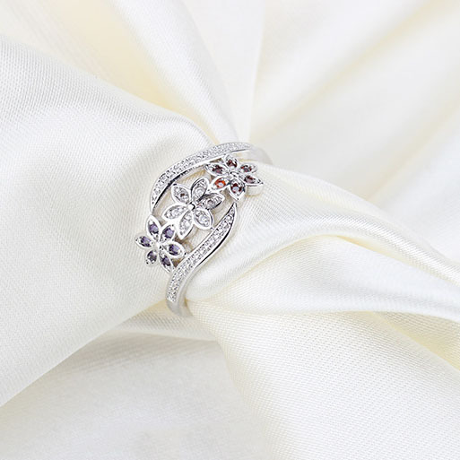 Three Color CZ Flower Fashion Ring for Women  1