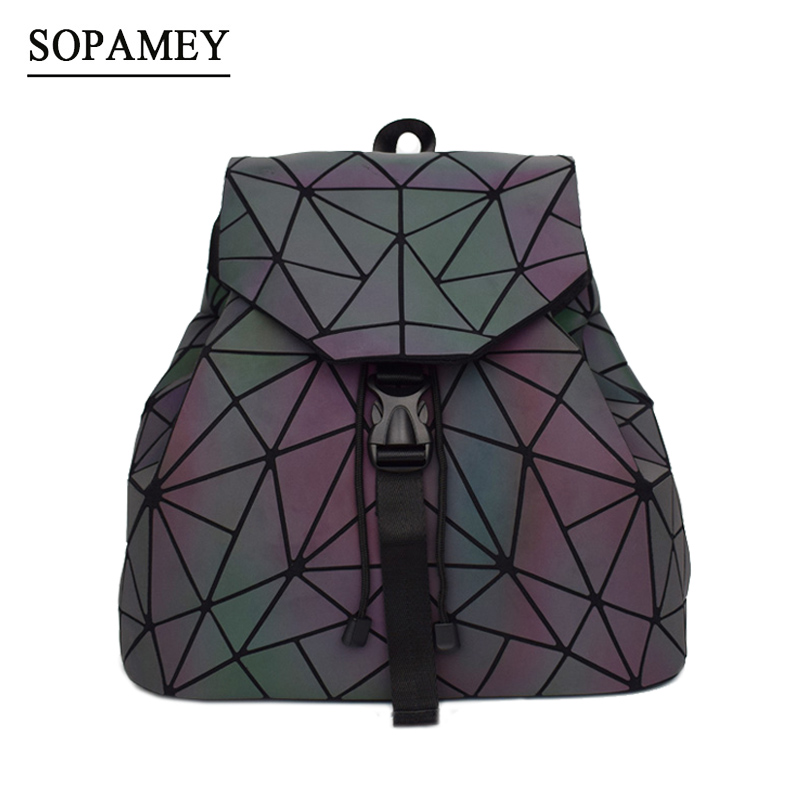 Bao mujeres Mochila luminosa cordón Mochila diaria femenina geometría mochilas plegable escuela bolsas para adolescentes Mochila