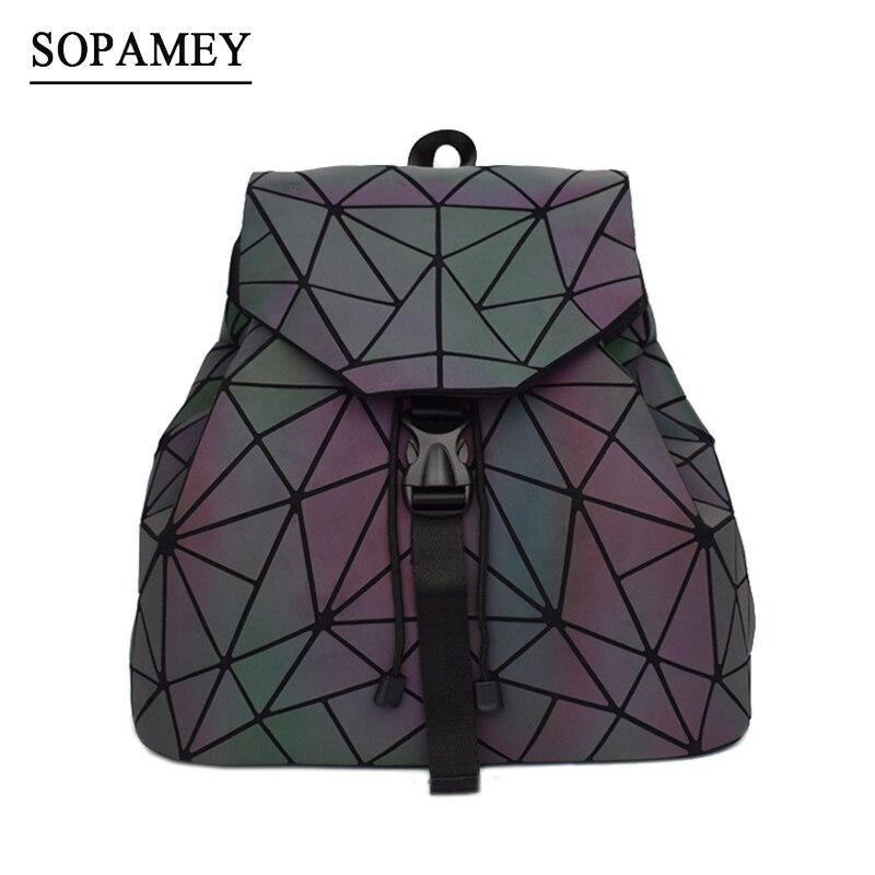 Bao las mujeres Mochila luminoso cordón mujer Mochila diaria geometría mochilas para plegable bolsas para la Escuela de las niñas adolescentes Mochila